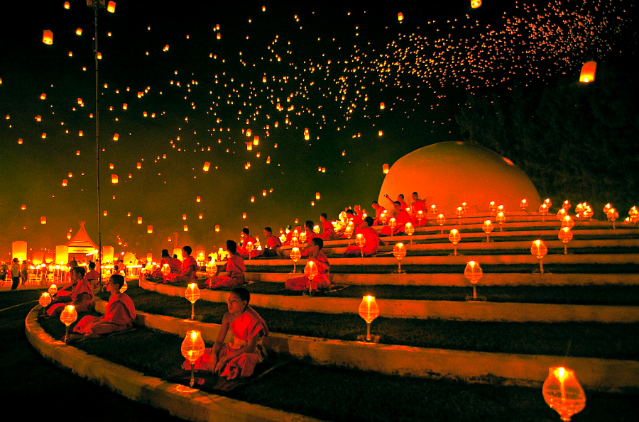 Loy Krathong festival of lights in Chiang mai