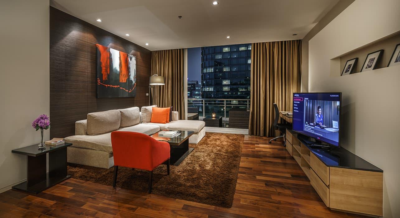 Three Bedroom Serviced Apartment Suites Lounge Area - akyra Thonglor Bangkok Hotel
