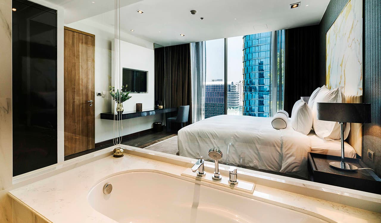 Two Bedroom Suite view from Bath - akyra Thonglor Bangkok Hotel