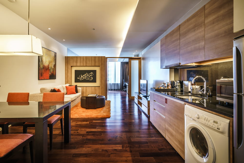 One Bedroom Serviced Suites Kitchen and Dining Area - akyra Thonglor Bangkok Hotel