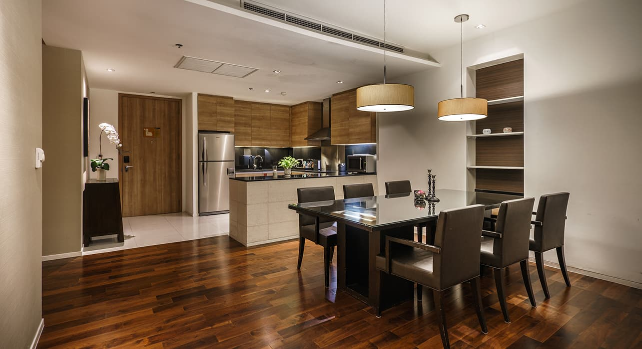 Three Bedroom Serviced Apartment Suites Dining and Kitchen Area - akyra Thonglor Bangkok Hotel