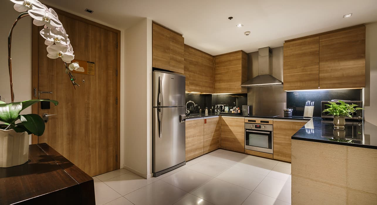 Three Bedroom Serviced Apartment Suites Kitchen - akyra Thonglor Bangkok Hotel